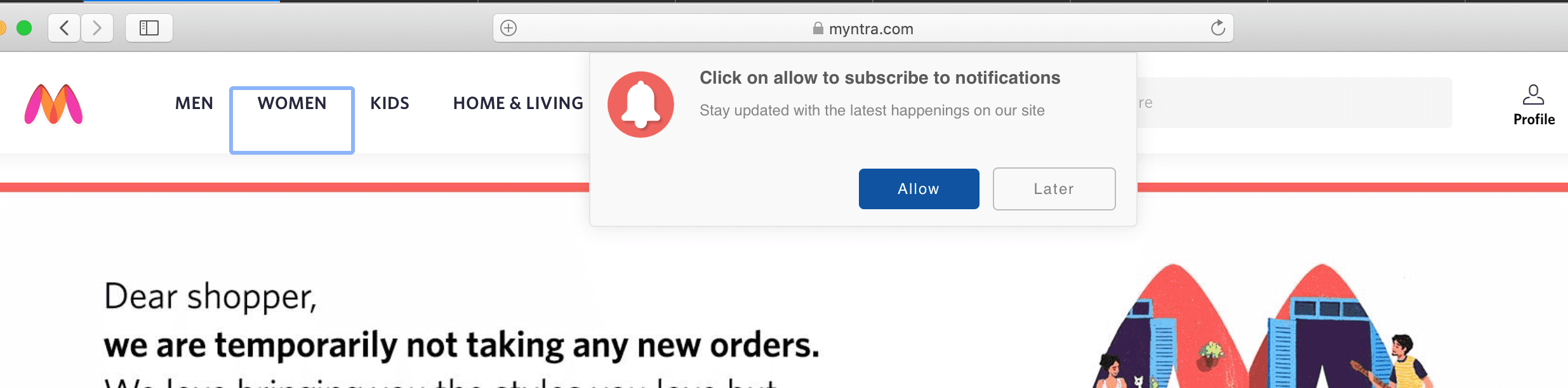 Myntra Subscribe to web notification pop-up